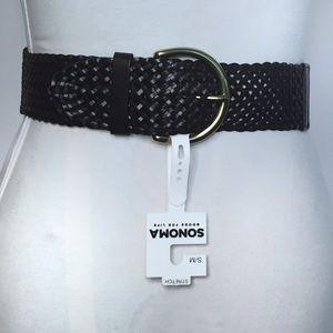 SONOMA Dark Brown Bonded Leather Stretch Belt, S/M